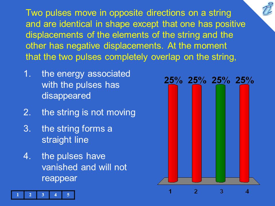 Two pulses move in opposite directions on a string and are identical in shape except that one has positive displacements of the elements of the string