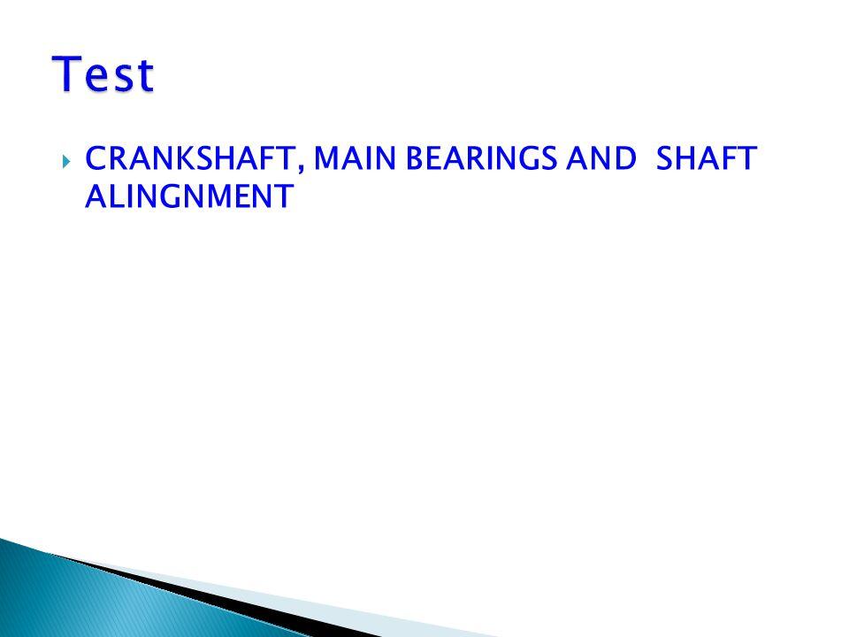  CRANKSHAFT, MAIN BEARINGS AND SHAFT ALINGNMENT