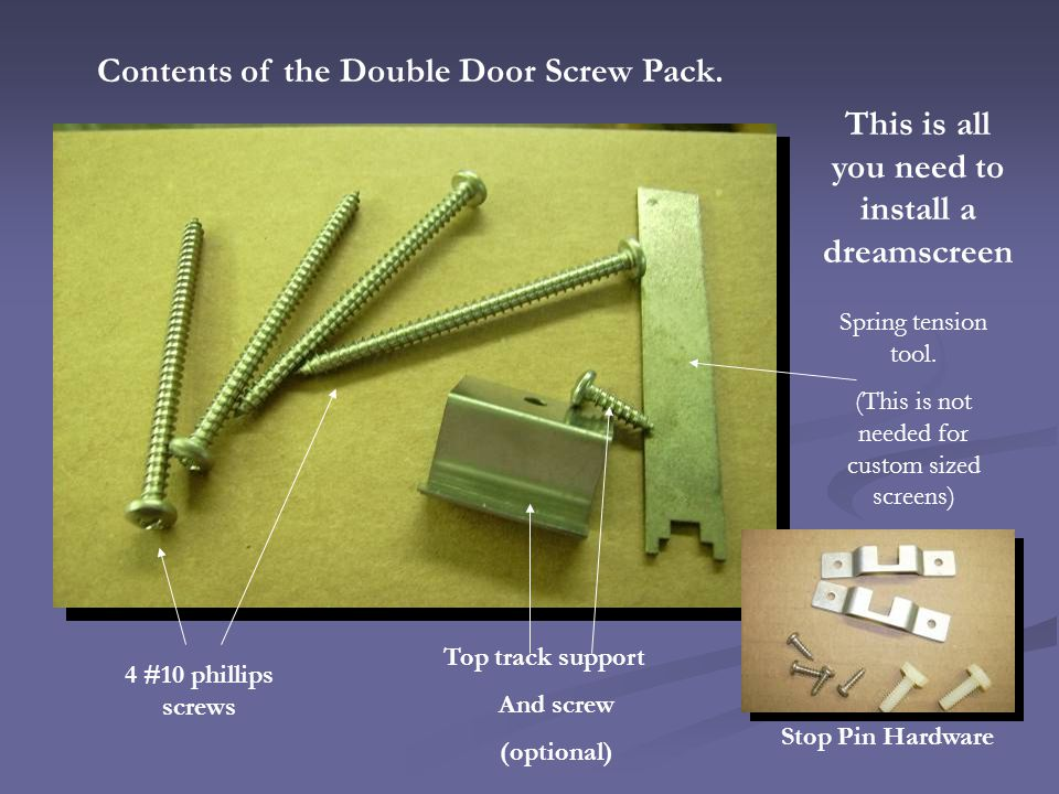 Contents of the Double Door Screw Pack.