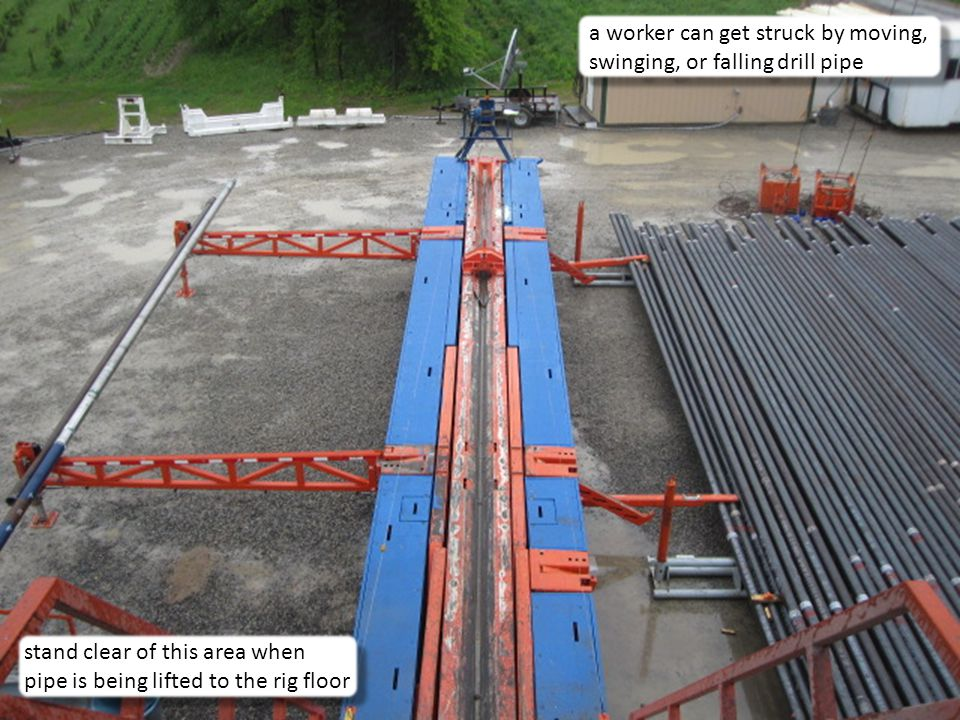 7 a worker can get struck by moving, swinging, or falling drill pipe stand clear of this area when pipe is being lifted to the rig floor