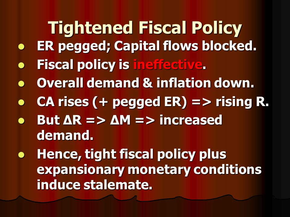 Tightened Fiscal Policy ER pegged; Capital flows blocked.