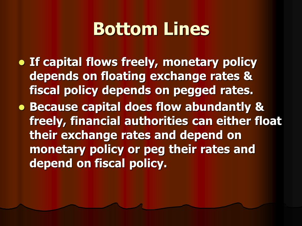 Bottom Lines If capital flows freely, monetary policy depends on floating exchange rates & fiscal policy depends on pegged rates.