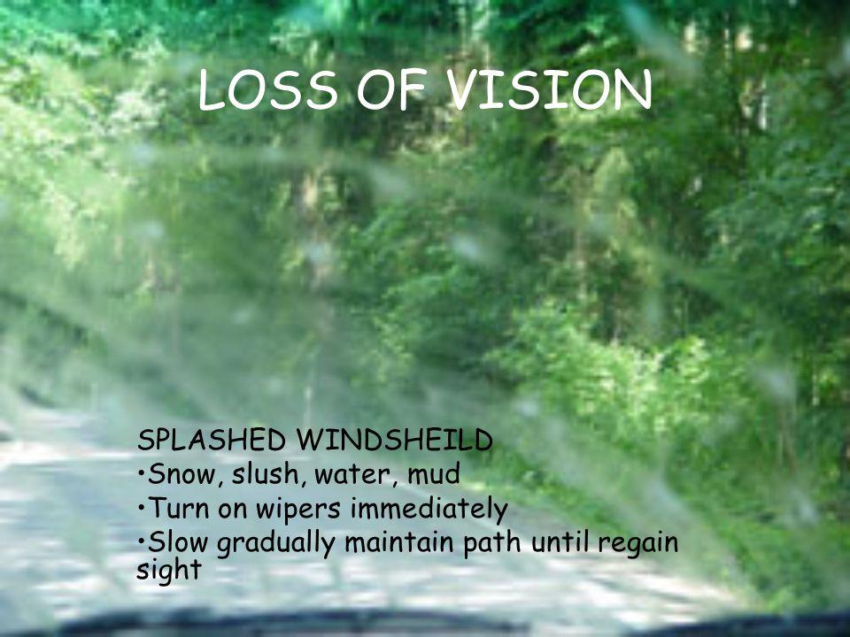 LOSS OF VISION SPLASHED WINDSHEILD Snow, slush, water, mud Turn on wipers immediately Slow gradually maintain path until regain sight