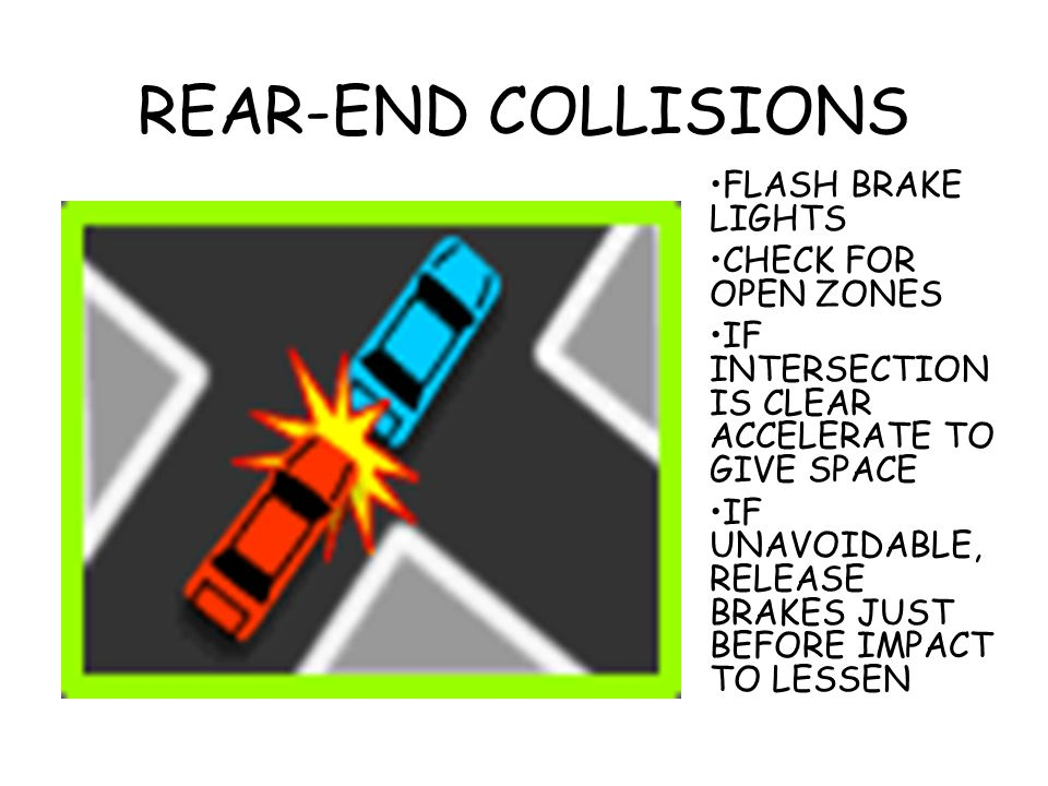 REAR-END COLLISIONS FLASH BRAKE LIGHTS CHECK FOR OPEN ZONES IF INTERSECTION IS CLEAR ACCELERATE TO GIVE SPACE IF UNAVOIDABLE, RELEASE BRAKES JUST BEFO