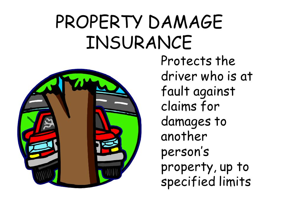 PROPERTY DAMAGE INSURANCE Protects the driver who is at fault against claims for damages to another person's property, up to specified limits