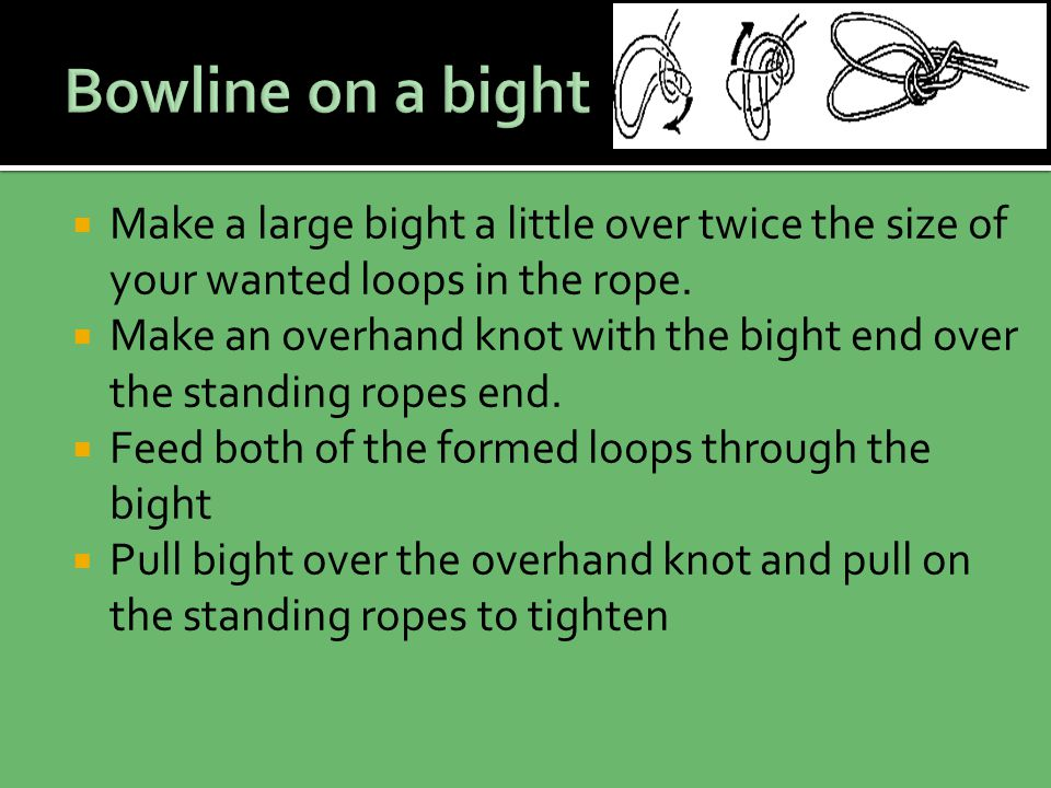  Make a large bight a little over twice the size of your wanted loops in the rope.