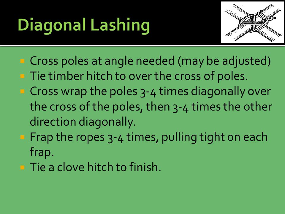  Cross poles at angle needed (may be adjusted)  Tie timber hitch to over the cross of poles.