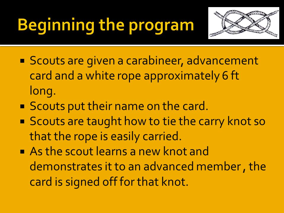  Scouts are given a carabineer, advancement card and a white rope approximately 6 ft long.