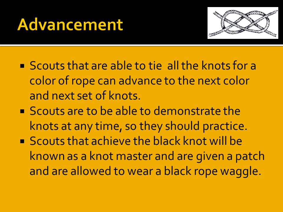  Scouts that are able to tie all the knots for a color of rope can advance to the next color and next set of knots.