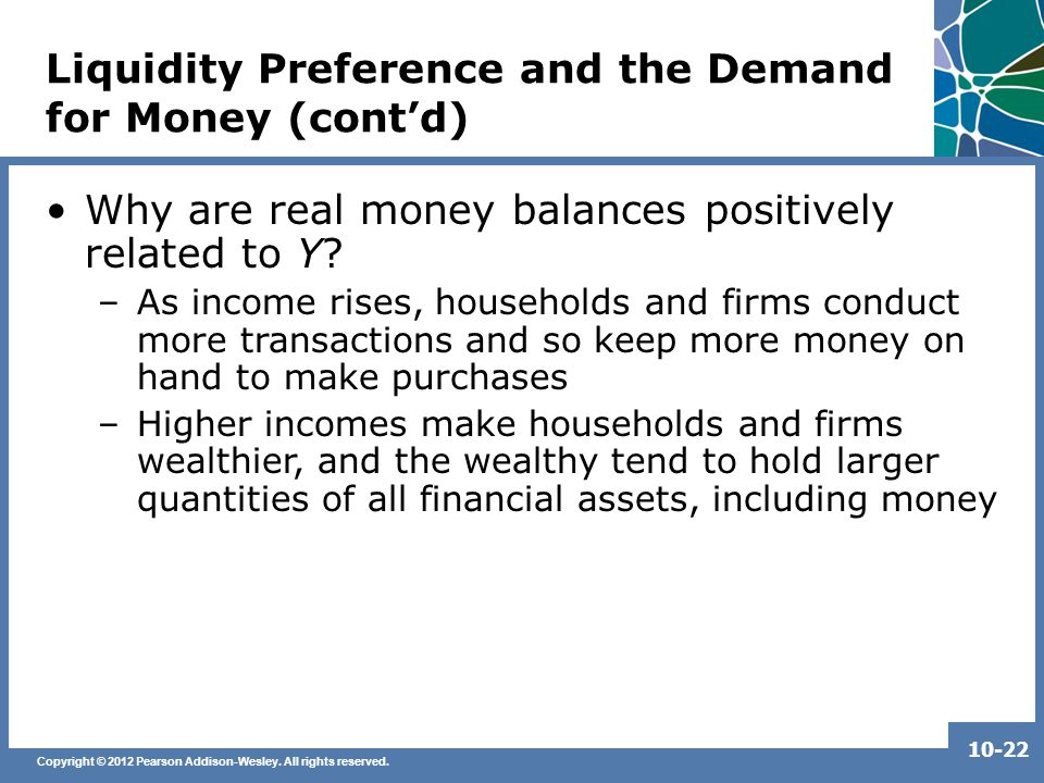 Copyright © 2012 Pearson Addison-Wesley. All rights reserved. 10-22 Liquidity Preference and the Demand for Money (cont'd) Why are real money balances