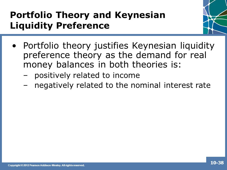 Copyright © 2012 Pearson Addison-Wesley. All rights reserved. 10-38 Portfolio Theory and Keynesian Liquidity Preference Portfolio theory justifies Key