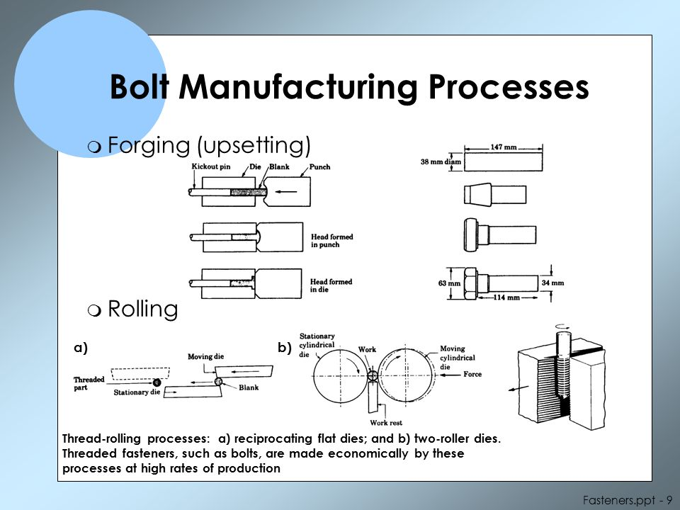 Fasteners.ppt - 10 Manufacturing Processes - continued m Turning on screw machines (a) Differences in the diameters of machined and rolled threads.