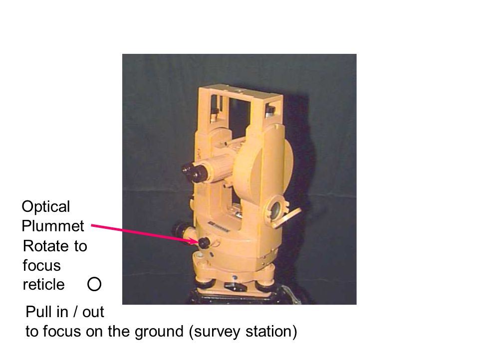 Optical Plummet Rotate to focus reticle Pull in / out to focus on the ground (survey station)