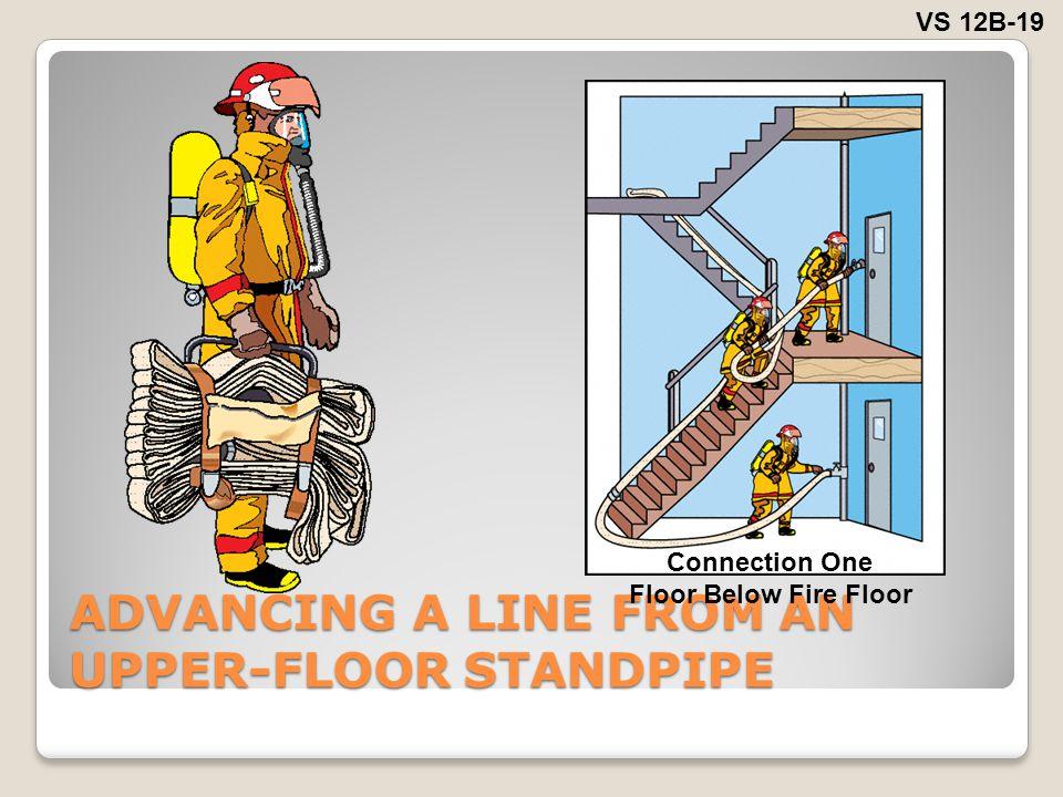 ADVANCING A LINE FROM AN UPPER-FLOOR STANDPIPE VS 12B-19 Connection One Floor Below Fire Floor