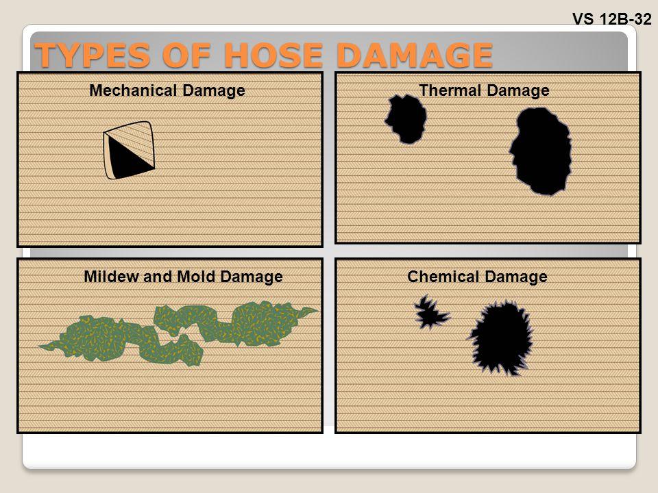 TYPES OF HOSE DAMAGE VS 12B-32 Mechanical DamageThermal Damage Mildew and Mold DamageChemical Damage