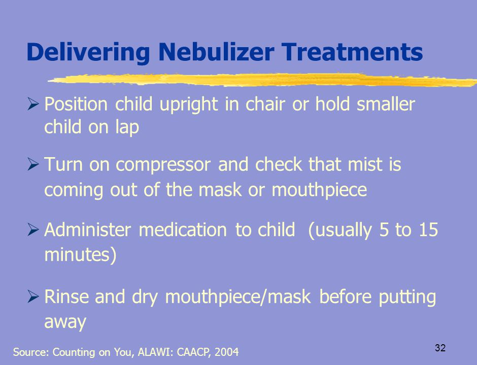 31 Delivering Nebulizer Treatments  Wash hands thoroughly  Make sure machine is dry and assemble equipment  Check to ensure written order for medication is available from health care provider  Connect one end of the tubing to compressor and other end to container with medication  Add child's medication to the container Source: Counting on You, ALAWI; CAACP, 2004