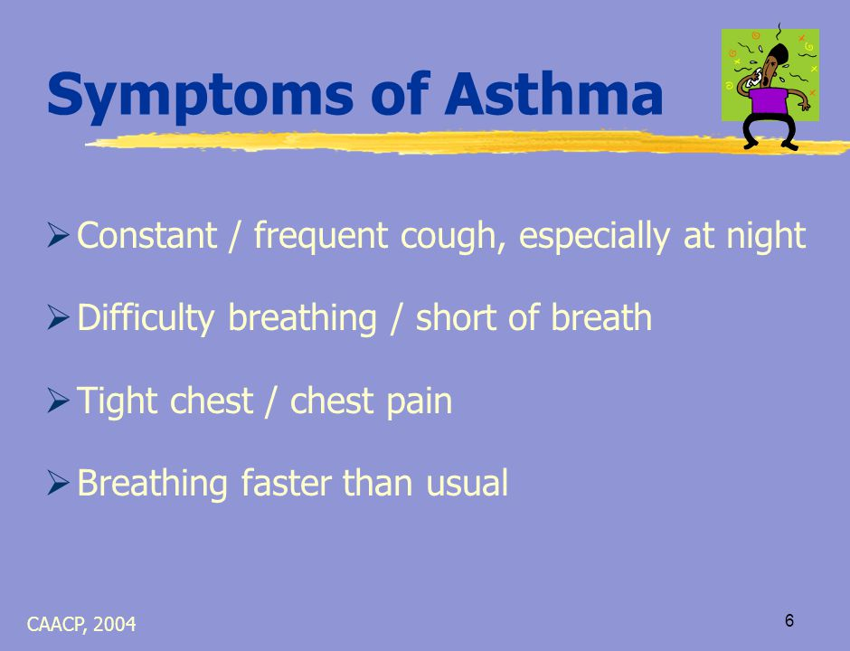 5 Lungs When Asthma is NOT in Good Control Unhealthy airways: air can't easily get in or out Mucus plugs airway Muscles tighten around airways Lining