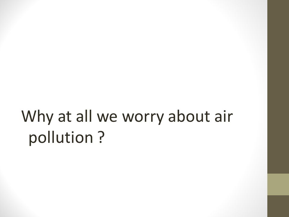 Why at all we worry about air pollution