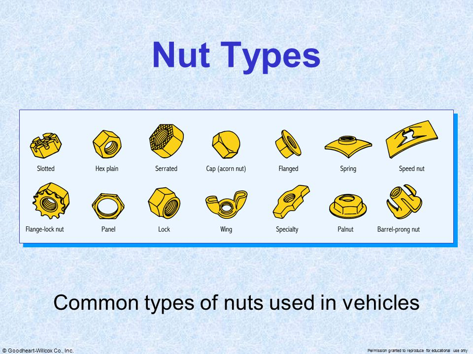 © Goodheart-Willcox Co., Inc. Permission granted to reproduce for educational use only Nut Types Common types of nuts used in vehicles