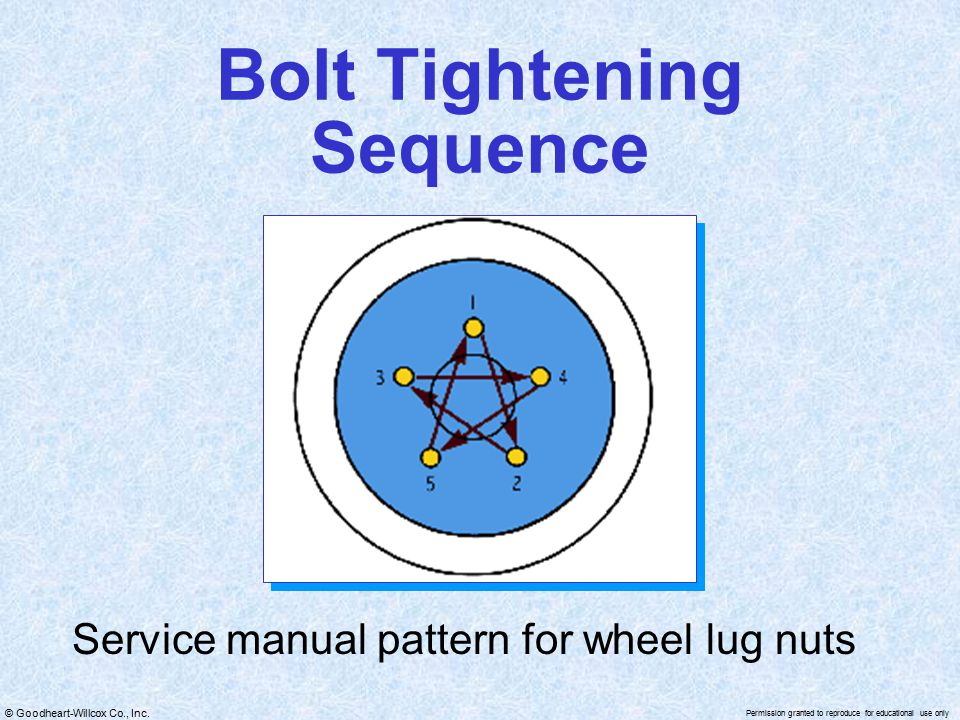 © Goodheart-Willcox Co., Inc. Permission granted to reproduce for educational use only Bolt Tightening Sequence Service manual pattern for wheel lug n
