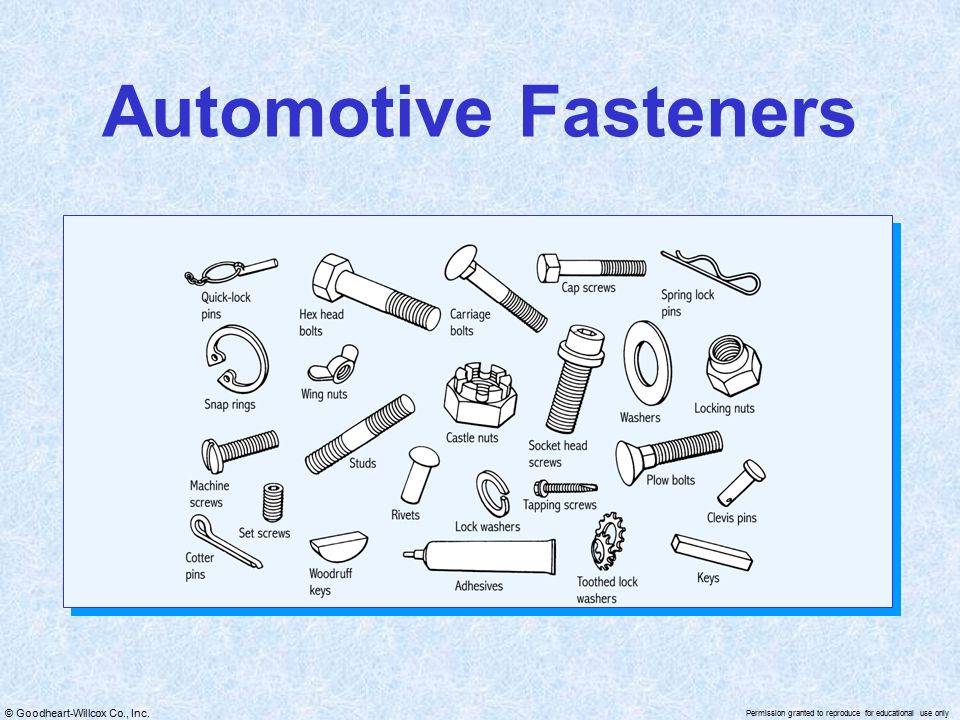 © Goodheart-Willcox Co., Inc. Permission granted to reproduce for educational use only Automotive Fasteners