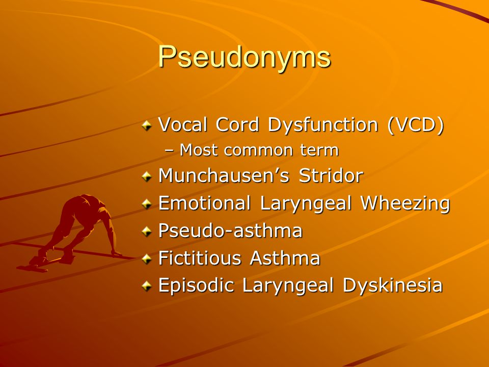 Diagnostic Features PVFM Asthma Precipitators (triggers) Exercise, extreme Exercise, extreme temperatures, airway temperatures, irritants, emotional airway irritants, stressors emotional stressors, allergens Number of triggers Usually one Usually multiple Breathing obstruction Laryngeal area Chest area location Timing of breathing Stridor on Wheezing on noises inspiration exhalation