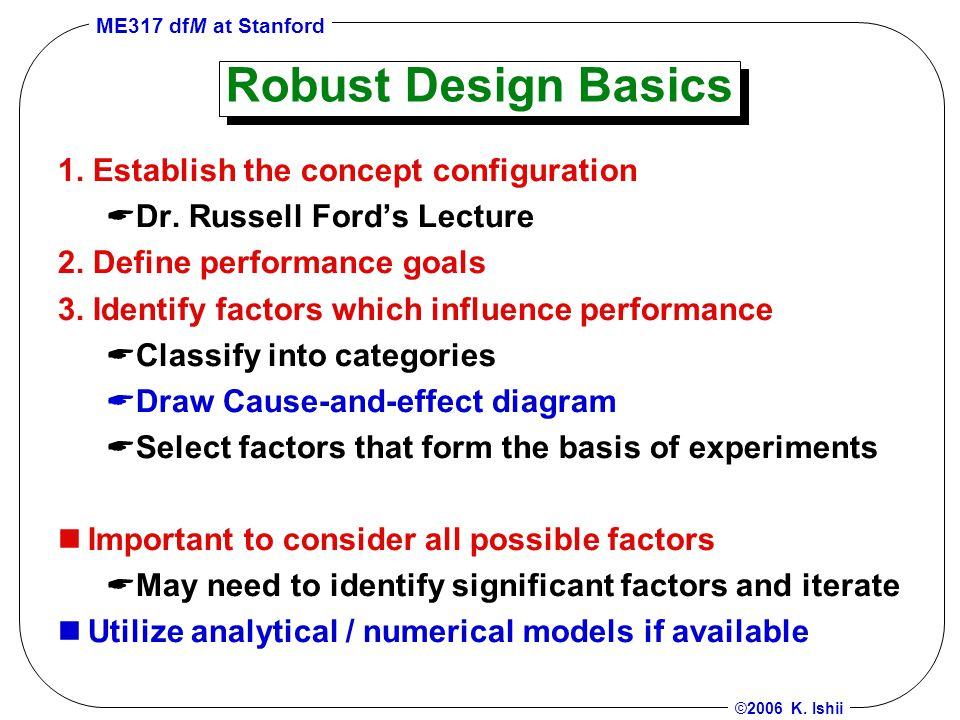 ME317 dfM at Stanford ©2006 K. Ishii Robust Design Basics 1.