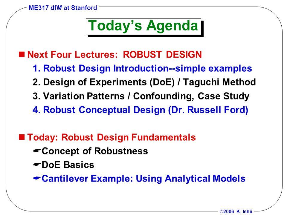 ME317 dfM at Stanford ©2006 K.Ishii What's Robustness.