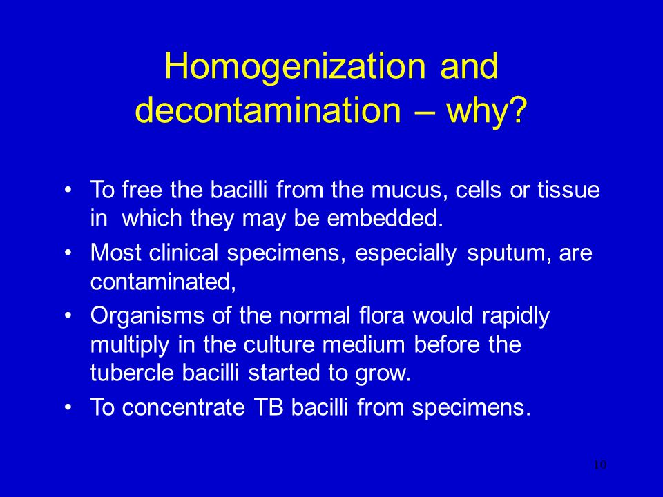 Homogenization and decontamination 9