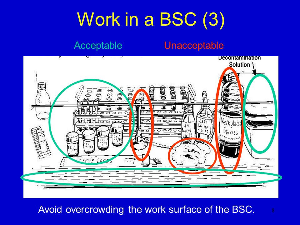 Work in a BSC (3) AcceptableUnacceptable Avoid overcrowding the work surface of the BSC. 8