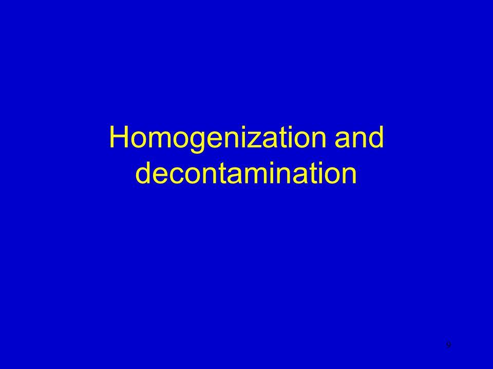 Homogenization and decontamination 9