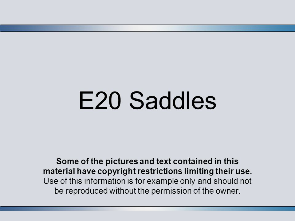 E20 Saddles Some of the pictures and text contained in this material have copyright restrictions limiting their use.
