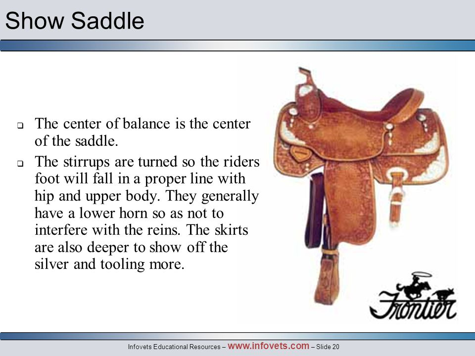 Infovets Educational Resources – www.infovets.com – Slide 20 Show Saddle  The center of balance is the center of the saddle.