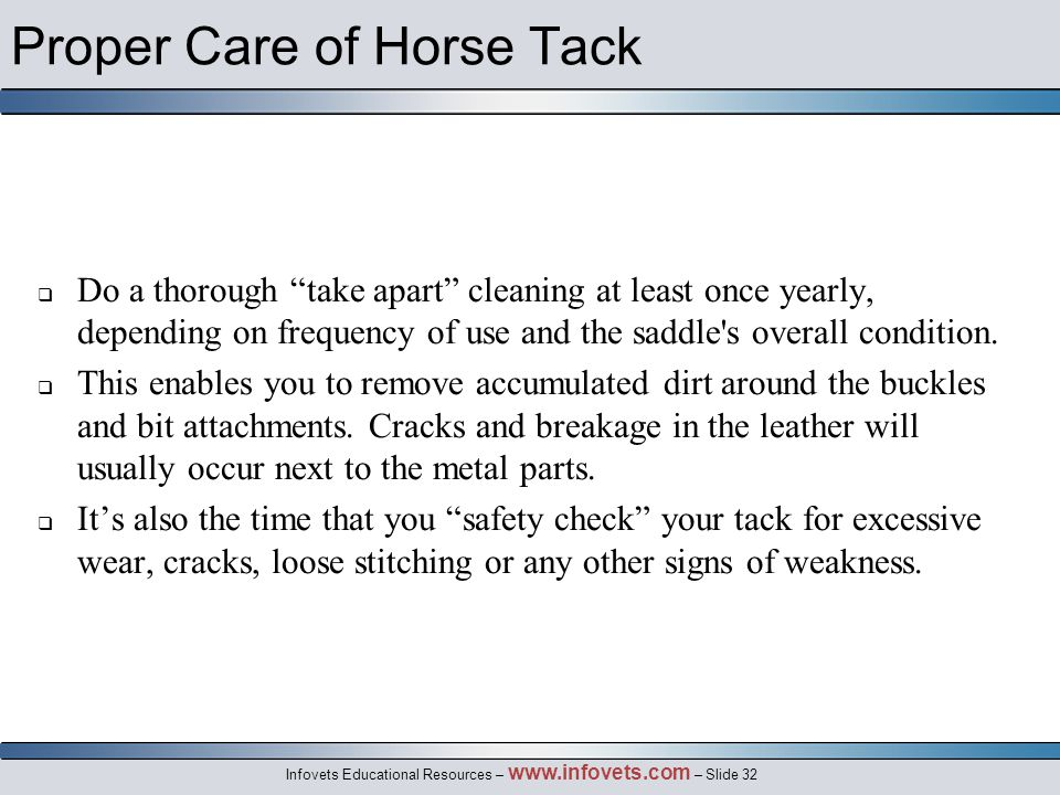 Infovets Educational Resources – www.infovets.com – Slide 32 Proper Care of Horse Tack  Do a thorough take apart cleaning at least once yearly, depending on frequency of use and the saddle s overall condition.