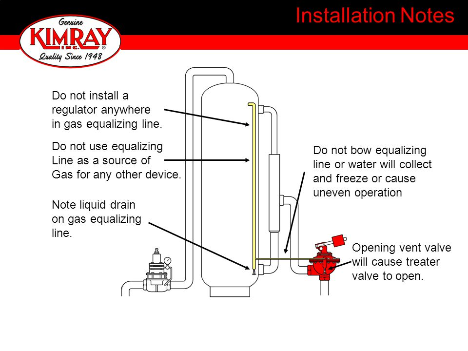 Installation Notes Do not install a regulator anywhere in gas equalizing line.