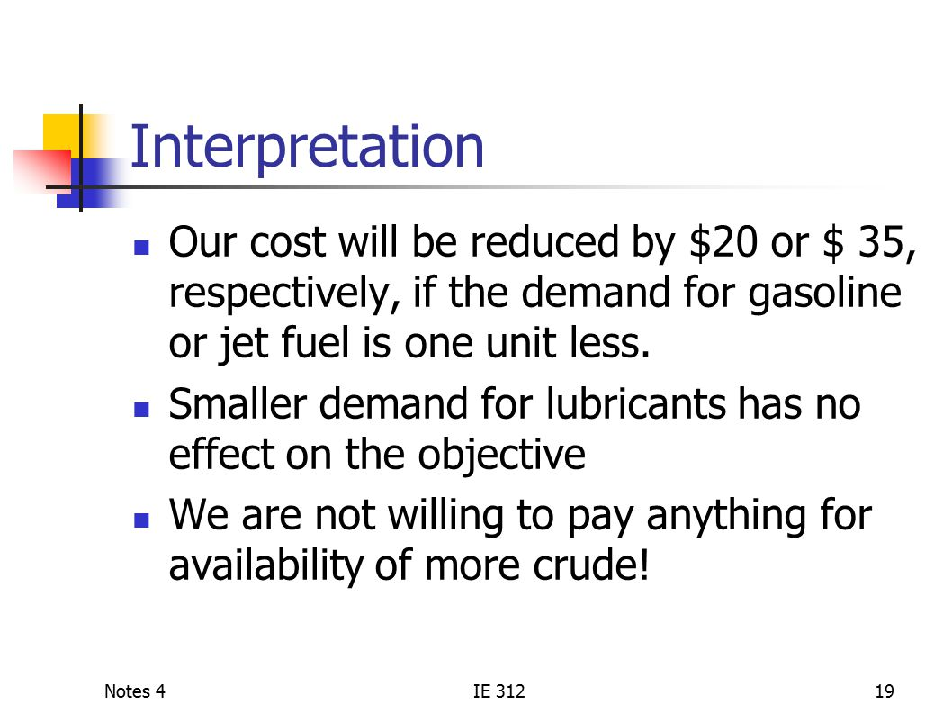 Notes 4IE 31219 Interpretation Our cost will be reduced by $20 or $ 35, respectively, if the demand for gasoline or jet fuel is one unit less.