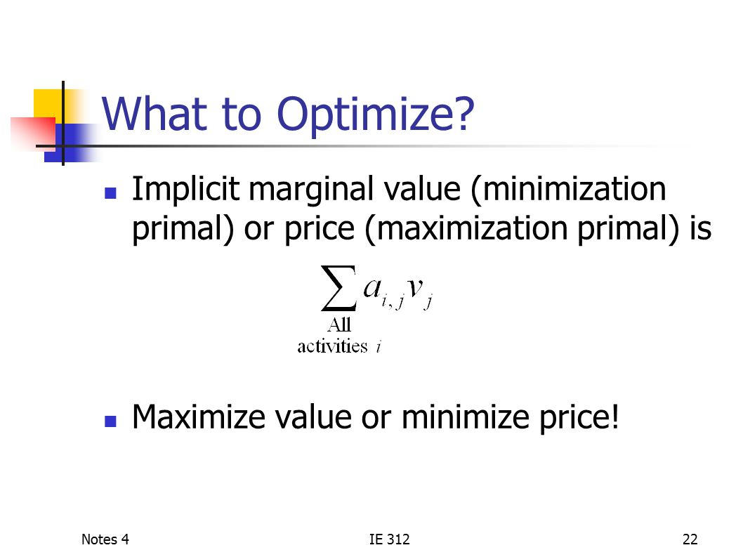 Notes 4IE 31222 What to Optimize.