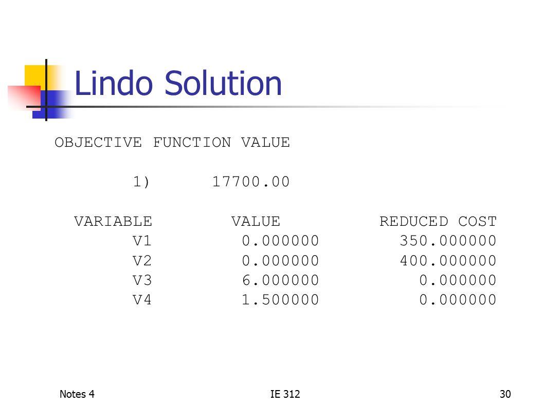Notes 4IE 31230 Lindo Solution OBJECTIVE FUNCTION VALUE 1) 17700.00 VARIABLE VALUE REDUCED COST V1 0.000000 350.000000 V2 0.000000 400.000000 V3 6.000