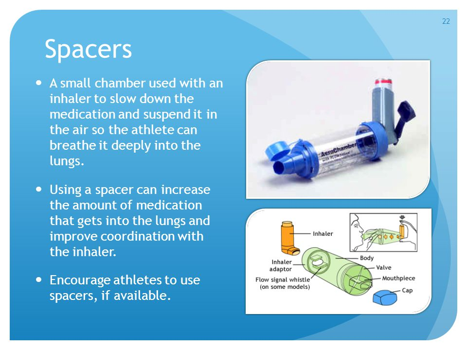 Spacers A small chamber used with an inhaler to slow down the medication and suspend it in the air so the athlete can breathe it deeply into the lungs.