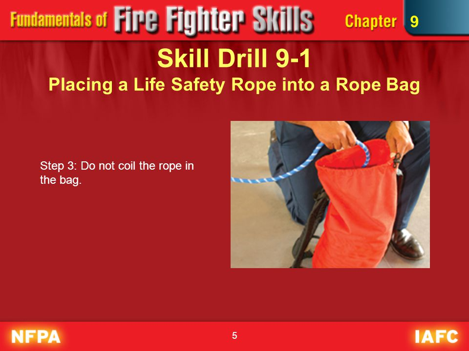 6 Skill Drill 9-2 Safety Knot Step 1: Take the loose end of the rope, beyond the knot, and form a loop around the standing part of the rope.