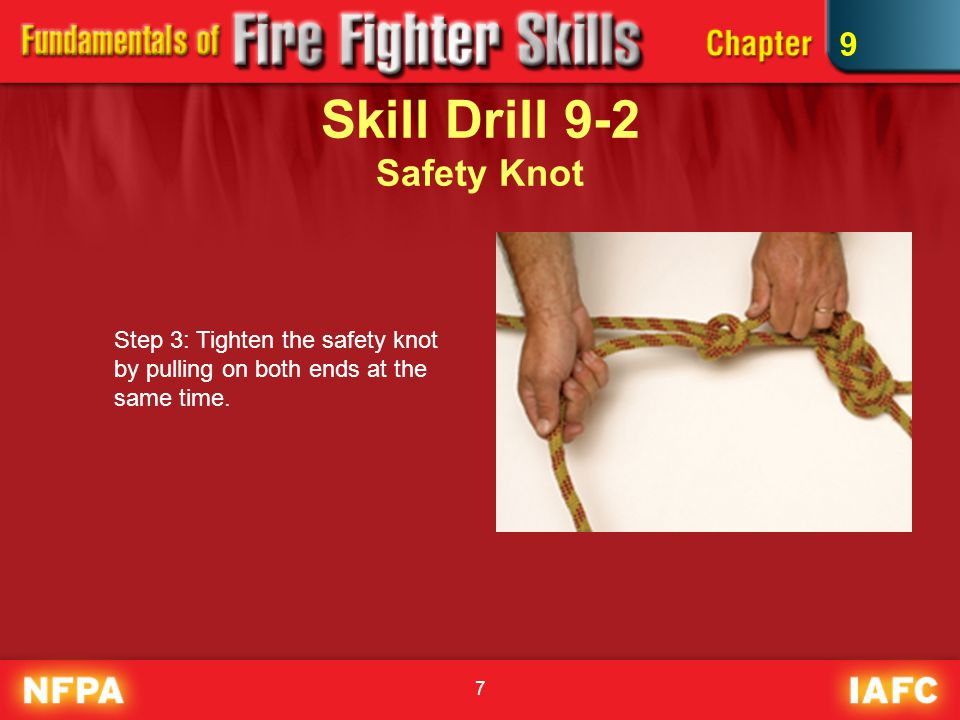28 Skill Drill 9-11 Hoisting an Axe Step 1: The team that needs the axe should lower a rope with enough extra rope to tie the required knot around the axe.