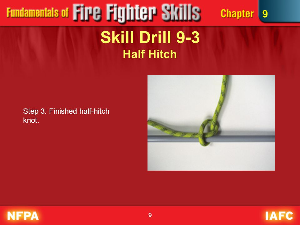 40 Skill Drill 9-14 Hoisting a Charged Hose Line Step 3: Tie a clove hitch around the hose, 1 or 2 behind the nozzle.