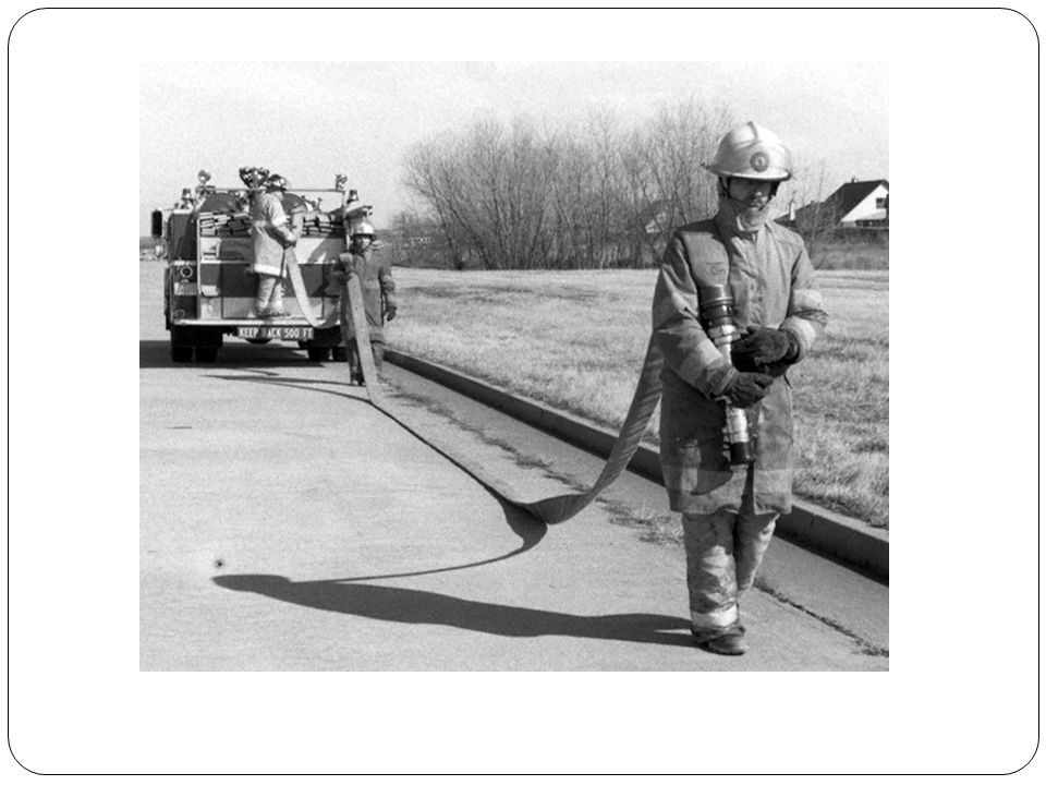 HAND LAY 300 FT OF SUPPLY LINE FROM PUMPER TO A WATER SOURCE Shoulder loads Load Stand with back to engine Second firefighter stacks hose back and forth on shoulder with loops at waist length Maximum 100 foot per firefighter Move forward 15 feet Unload First to get loaded is last to unload All walk toward objective Firefighter closest to hose bed (last to get loaded) begins to flake out hose Once out of hose, next firefighter starts to drop Repeat until at objective or run out of hose
