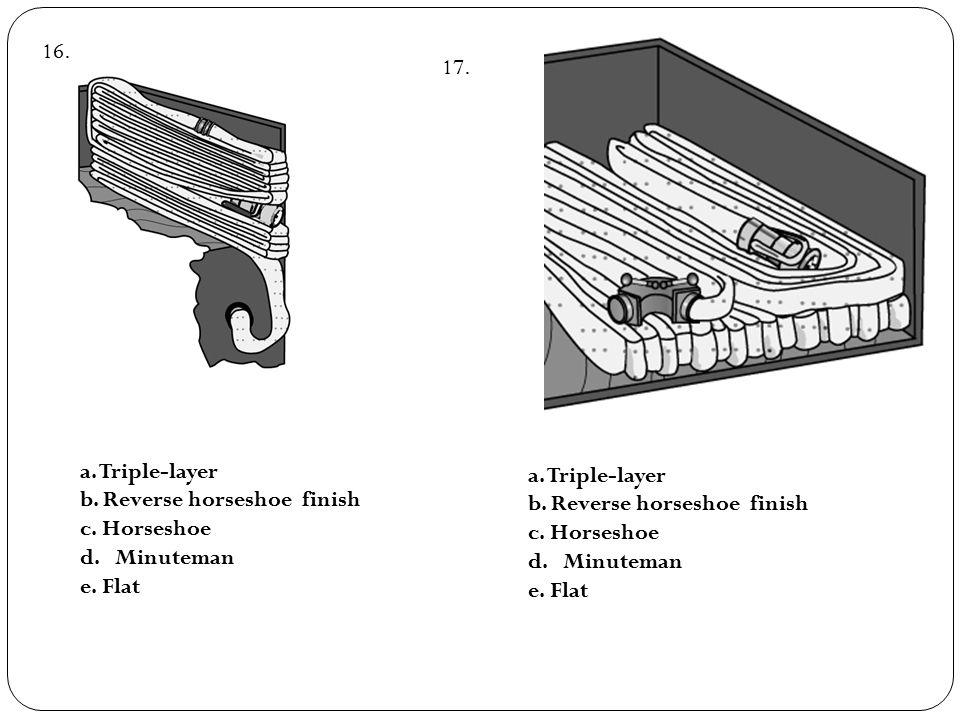 a. Triple-layer b. Reverse horseshoe finish c. Horseshoe d. Minuteman e. Flat a. Triple-layer b. Reverse horseshoe finish c. Horseshoe d. Minuteman e.