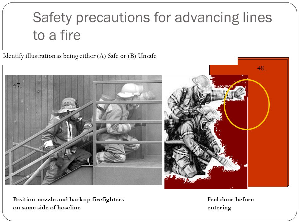 Safety precautions for advancing lines to a fire Identify illustration as being either (A) Safe or (B) Unsafe Position nozzle and backup firefighters