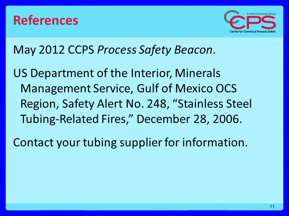 12 CCPS Process Safety Moment No.