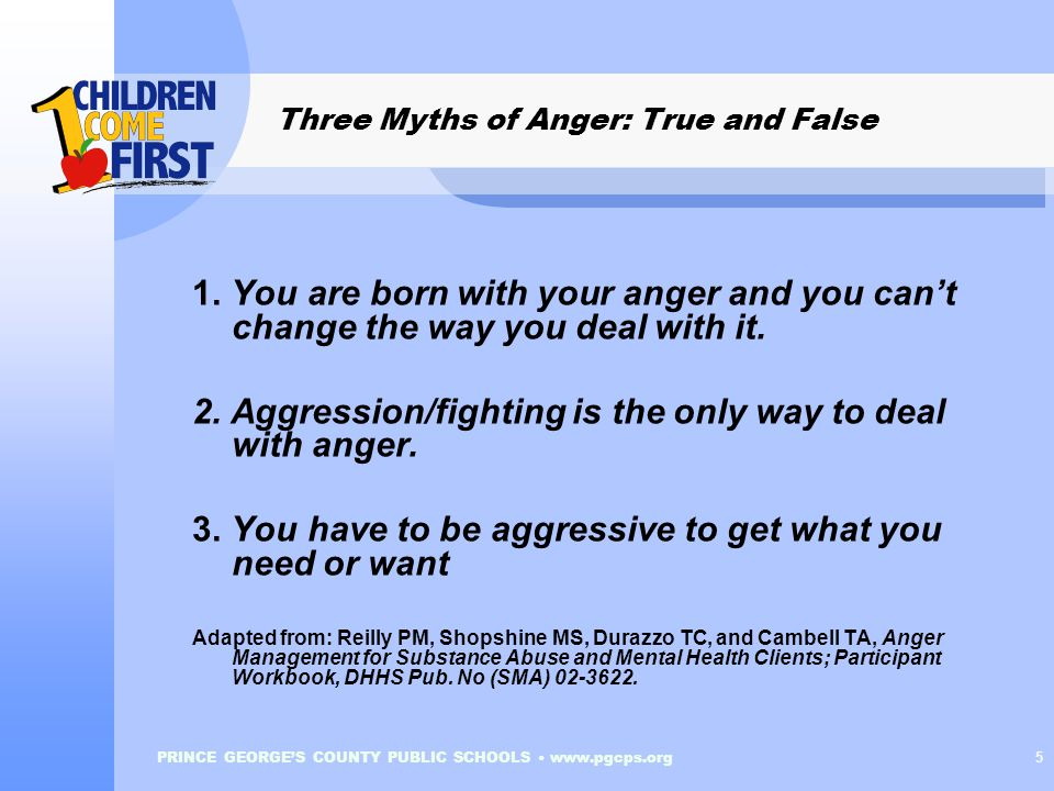 PRINCE GEORGE'S COUNTY PUBLIC SCHOOLS www.pgcps.org 6 Three Myths of Anger: True and False 1.