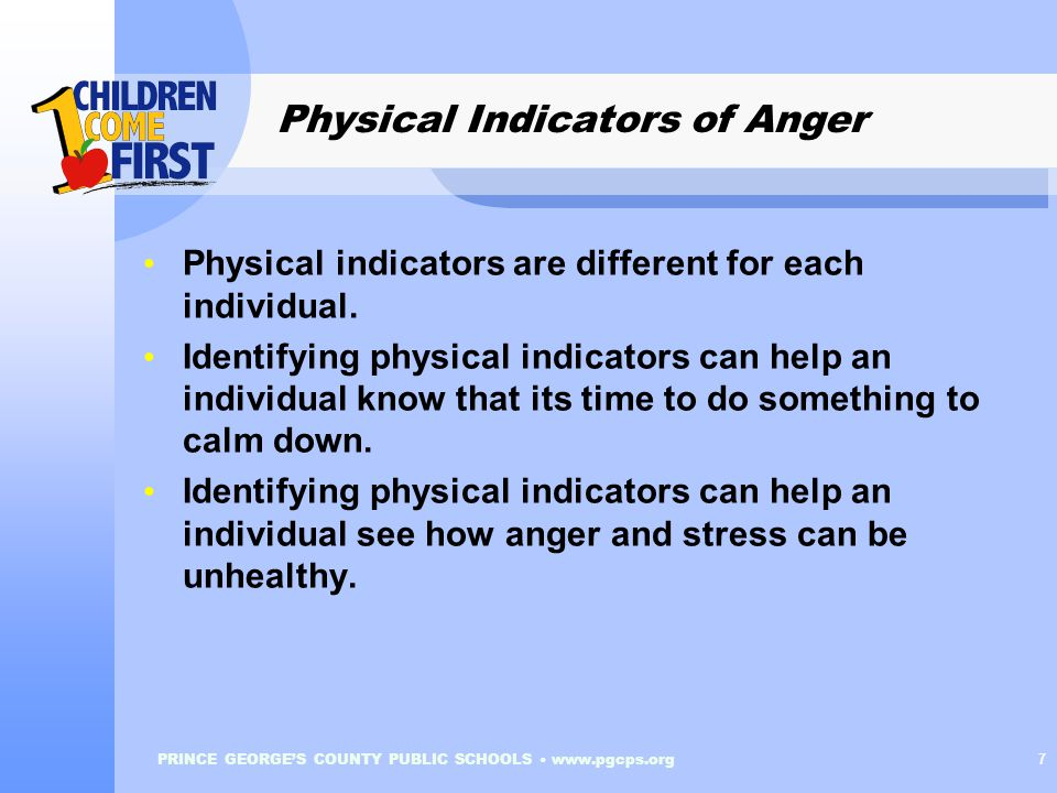 PRINCE GEORGE'S COUNTY PUBLIC SCHOOLS www.pgcps.org 7 Physical Indicators of Anger Physical indicators are different for each individual.
