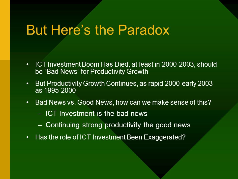 But Here's the Paradox ICT Investment Boom Has Died, at least in 2000-2003, should be Bad News for Productivity Growth But Productivity Growth Continues, as rapid 2000-early 2003 as 1995-2000 Bad News vs.