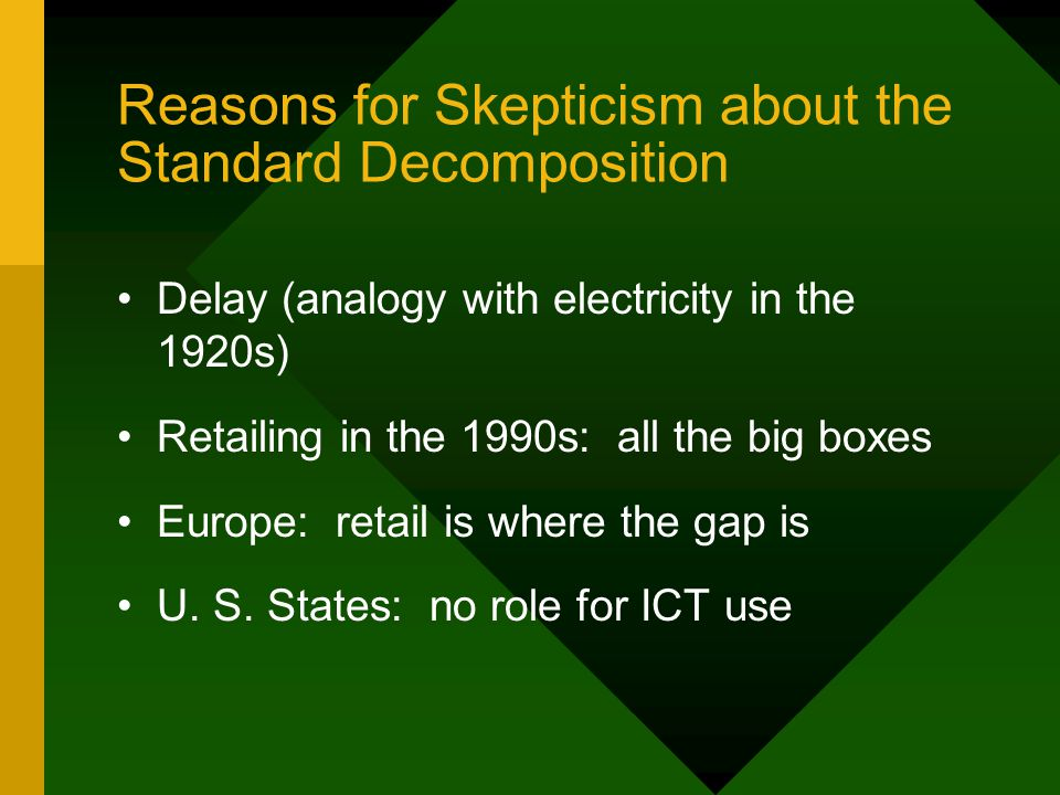 Reasons for Skepticism about the Standard Decomposition Delay (analogy with electricity in the 1920s) Retailing in the 1990s: all the big boxes Europe: retail is where the gap is U.